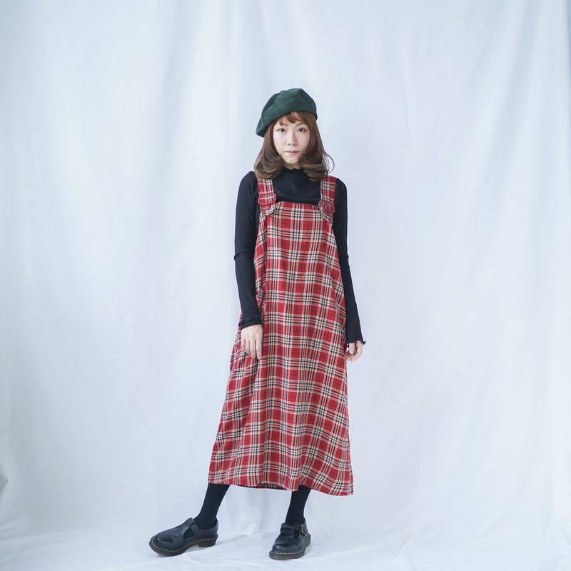 Vintage Checked Dungaree Dress