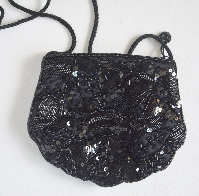 German antique vintage beaded sequins shoulder bag dinner