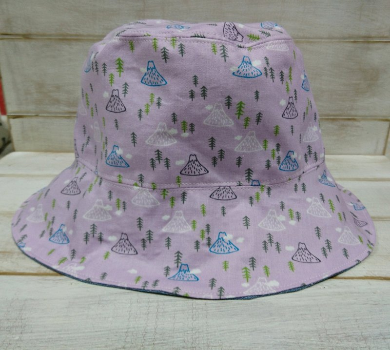 Lavender Fuji Mountain Forest & Denim Blue Double Fisherman Cap Hood