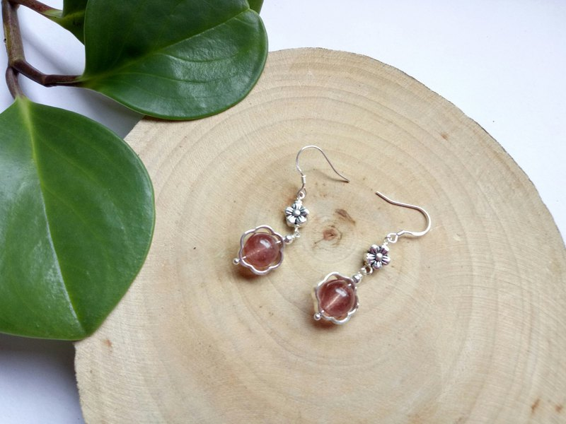 Natural Gemstone ~ Strawberry Crystal Sterling Silver Earrings