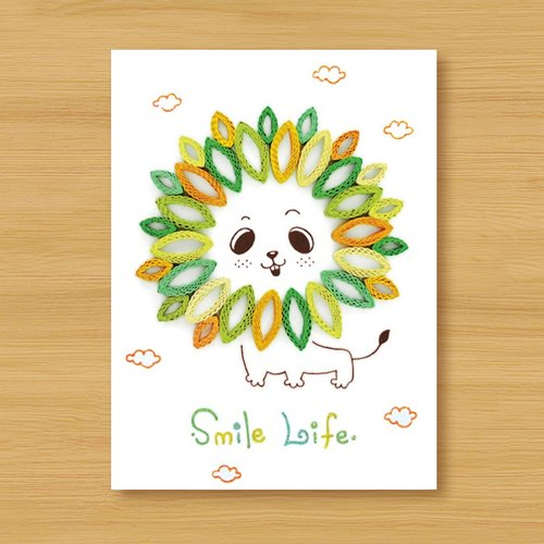 Hand roll card: small lion Smile Life_D (thanks card, birthday card, universal card, fuel card)