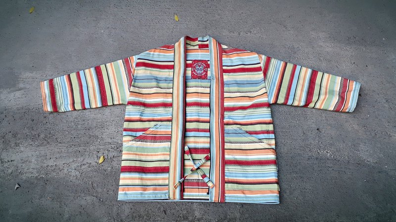 AMIN'S SHINY WORLD handmade custom Mexican color striped rainbow thick canvas zipper rope blouse coat jacket