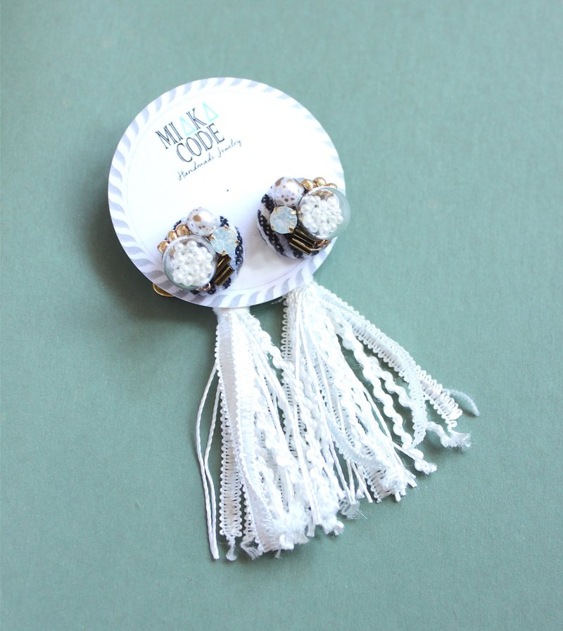 Blue and white striped+glass ball+tassel anti-sensitive earrings / ear-clips