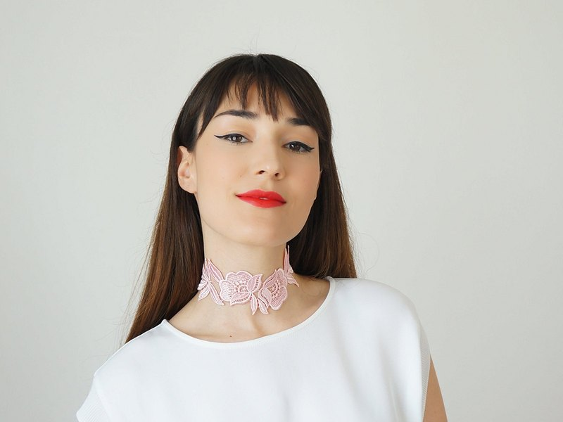 Macaron pink lace vintage Jassen excellent fresh female clavicle necklace choker necklace wild banquet original handmade creative wedding wedding jewelry VICERO | Turkey Hand brand epuu from Turkey Customizable Valentine's Day Christmas birthday weddin