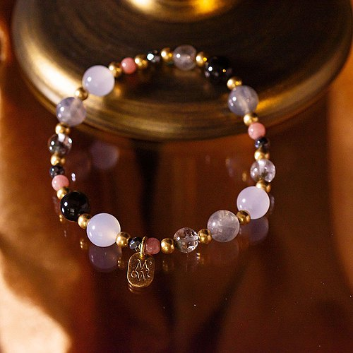 <Slow and warm natural stone series>C1166 Labradorite White Chalcedony Bracelet