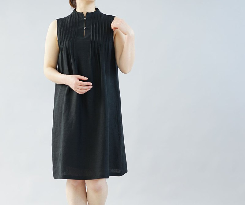wafu  linen petticoat / dress / pintuck / midi length / black  p001a-bck1