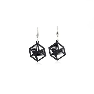 【String Art】3D printing Geometrical Cube Earrings (Silver/Gold)