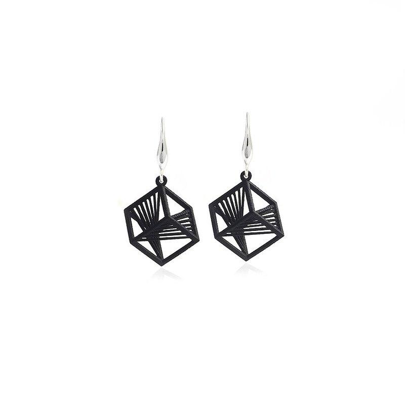 【String Art】3D打印正方幾何吊墜耳環