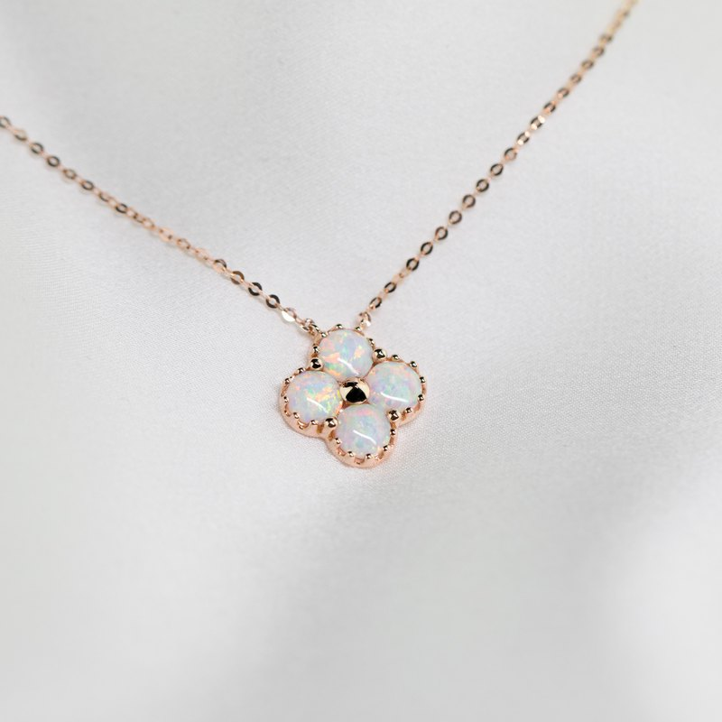 18k Yellow Gold, Rose Gold Clover Australian Opal Pendant Necklace P017