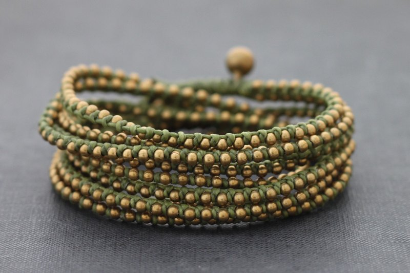 Olive Green Beads Bracelets Stud Beaded Woven Wrap Strand
