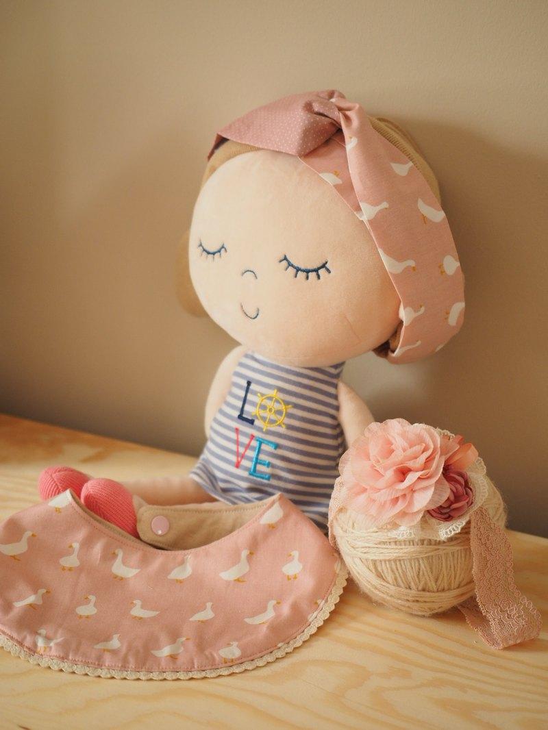 粉色小鴨嬰兒小童圍兜口水肩髮帶 媽媽髮帶 彌月禮物