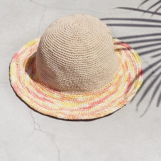 Valentine's Day gift limited handmade cotton linen / weaving hat / fisherman hat / sun hat / straw hat - watercolor color sensual sunset sunset striped hand-woven hat