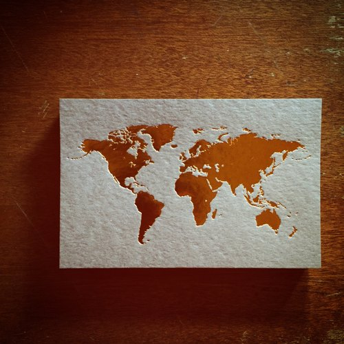 World map postcard / coffee card gold foil