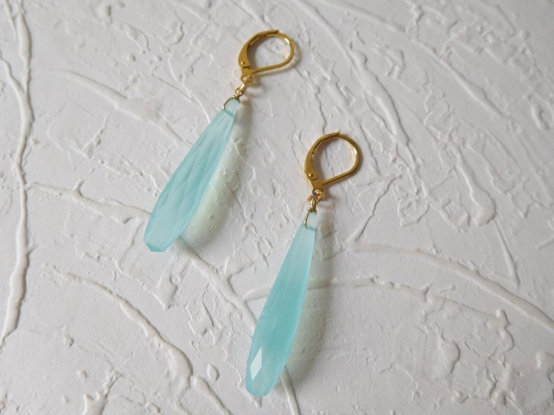French Ear Long Green Blue Cut Chalcedony Earrings (Can Be Clipped)