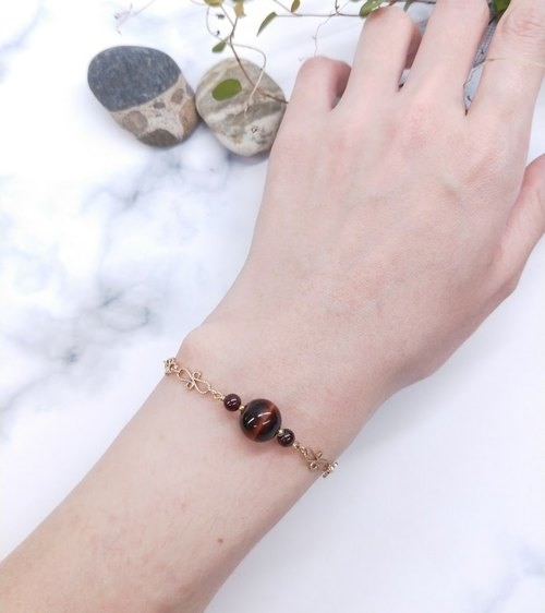 wristband. Red Tiger Eye * Red Garnet Brass Bracelet