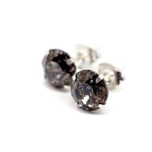 Black 'Meteorite' Swarovski Crystal Earrings, Sterling Silver, 8mm Round