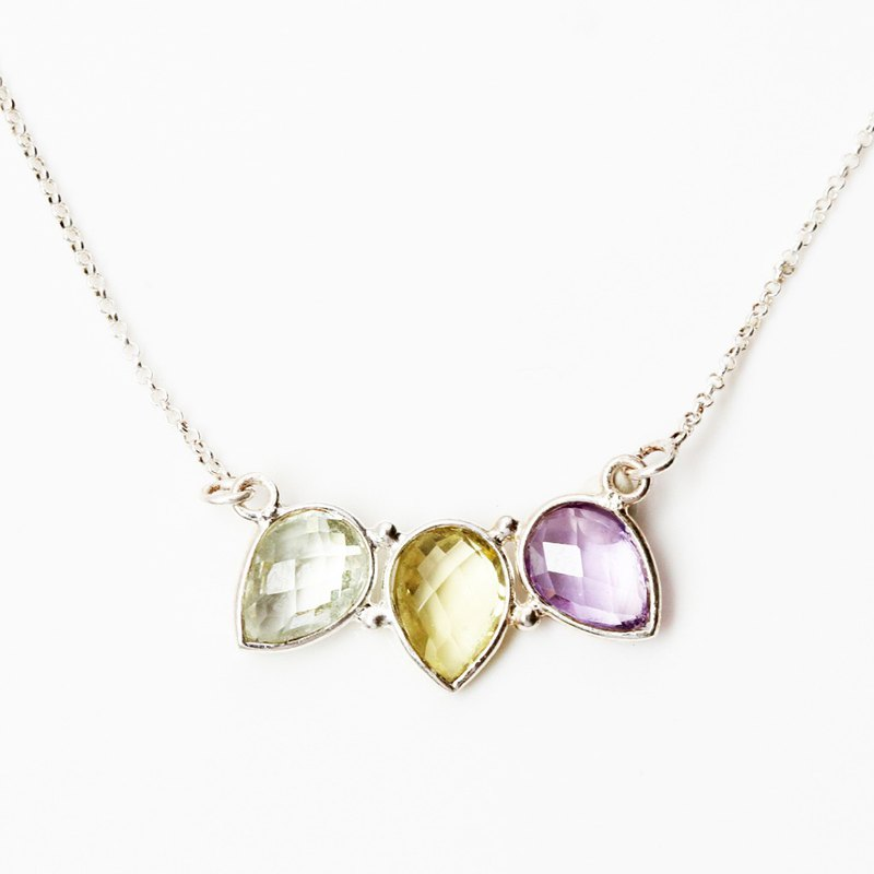 Tricolor Natural Crystal s925 sterling silver necklace Valentine's Day gift