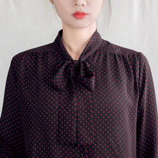 Dark black blue red jade straps vintage long-sleeved shirt