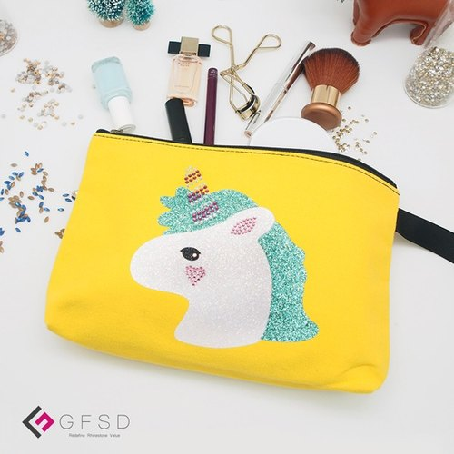 【GFSD】 Rhinestone Boutiques - Kid's Series - Lemon Yellow 【Unicorn】 Handmade Multifunctional Cosmetic Bag