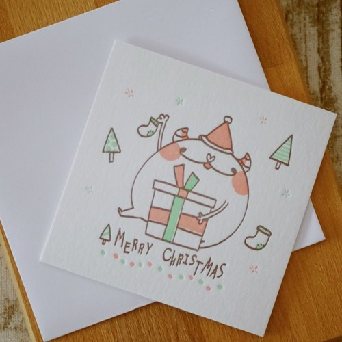 Too small letterpress printing produced Christmas cards