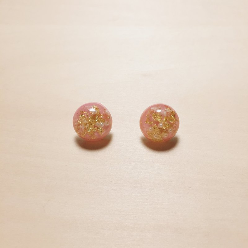 Vintage Light Pink Gold Pearl Pearl Ball Earrings