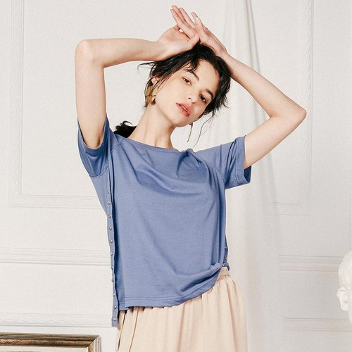 Anne Chen 2018 summer new style art women's solid color round neck short short long T-shirt
