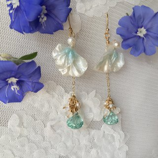 Handmade earrings lake blue green petals and crystal can be taken apart
