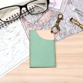Italian Leather Leisure Card Flip Card Clip Lake Green Free Lettering