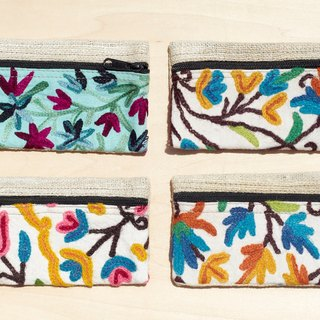 Department of Forestry hand-woven embroidery purse / wallet / Pencil - colored flower vines