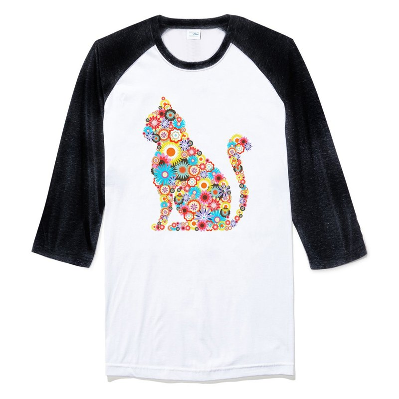 Floral Cat Sleeve T-shirt white black flower cat floral design illustration art