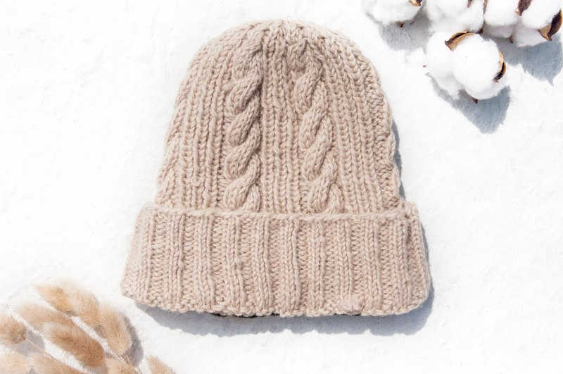 Hand-knitted pure wool cap / knit cap / knitted cap / inner brush hair hand-woven wool cap / wool cap - caramel