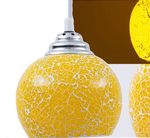VIDLO handmade mosaic glass single head chandelier - lemon yellow