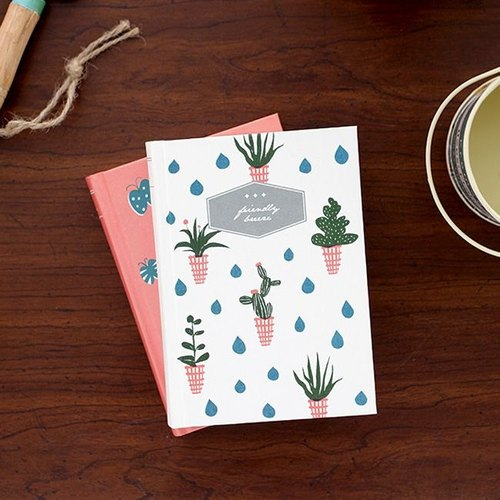 Livework-Forest Walker Hardcover Striped Notebook (S) B-potted plants, LWK32205