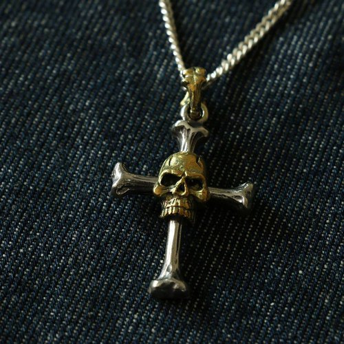 Vintage Biker Skull bone Cross Christ Jesus silver Pendant Necklace handmade 925