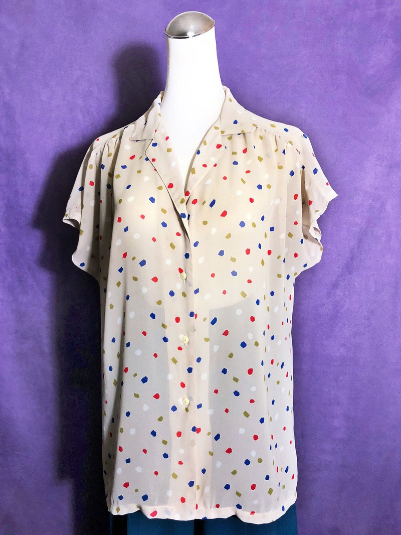 Color block short sleeve vintage shirt / abroad brought back VINTAGE