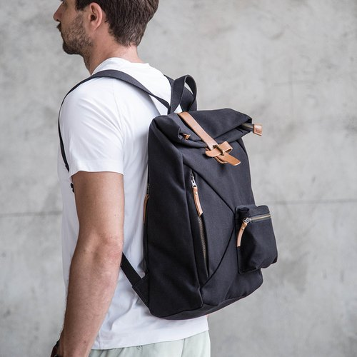 Water Resistant Fold top backpack in canvas and leather Black