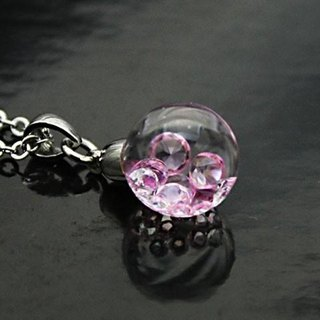 Bijou glass Ball Pendant Rose pink-red color