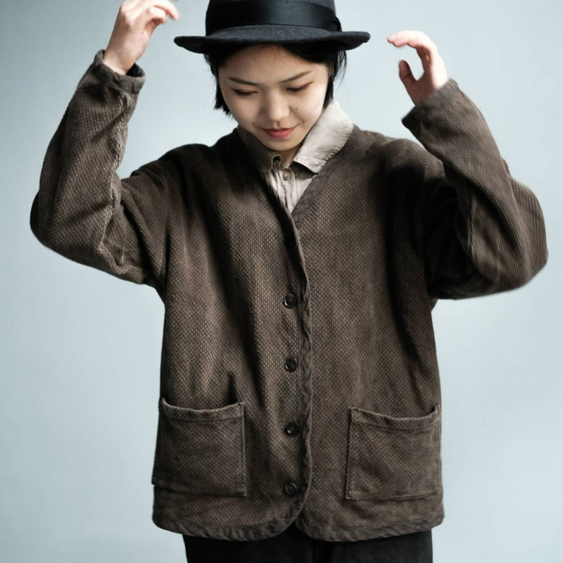 Winter time | chestnut color cotton kendo suit retro short coat Japanese style boyfriend grass dye and wind neutral