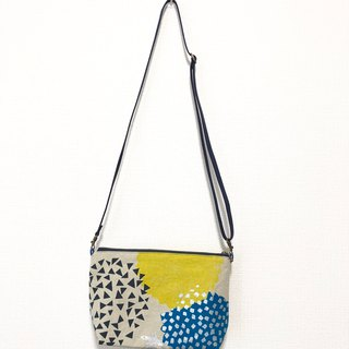 Dual-use length cross-body bag - Japan imported flower cloth - yellow circle
