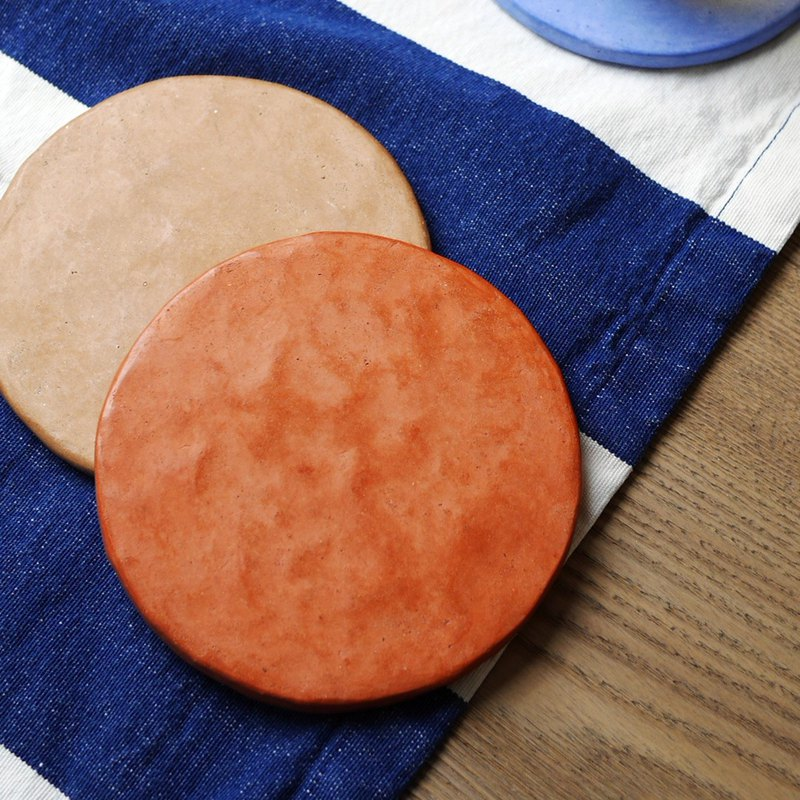 [Cold porcelain coasters] Xi Jena red / handmade / natural materials