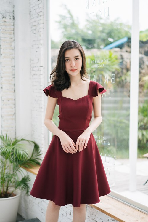 Maroon dress Red Prom Dress Summer Dress Vintage Party Dress Swing ...