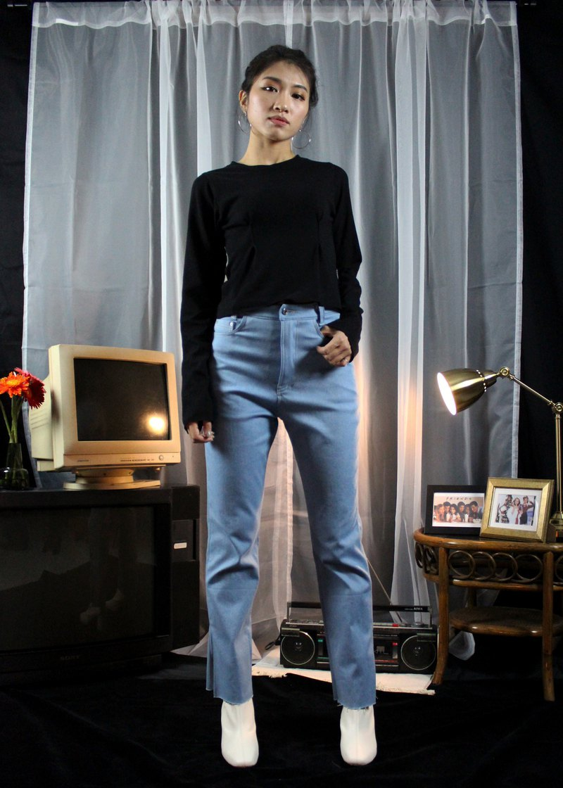 Soft Skinny Slit Denim Pants-Light Blue