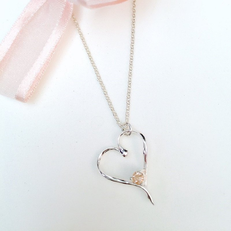 Frist pink heart-shaped diamond-studded silver necklace │ handmade limited edition Valentine's Day merchandise