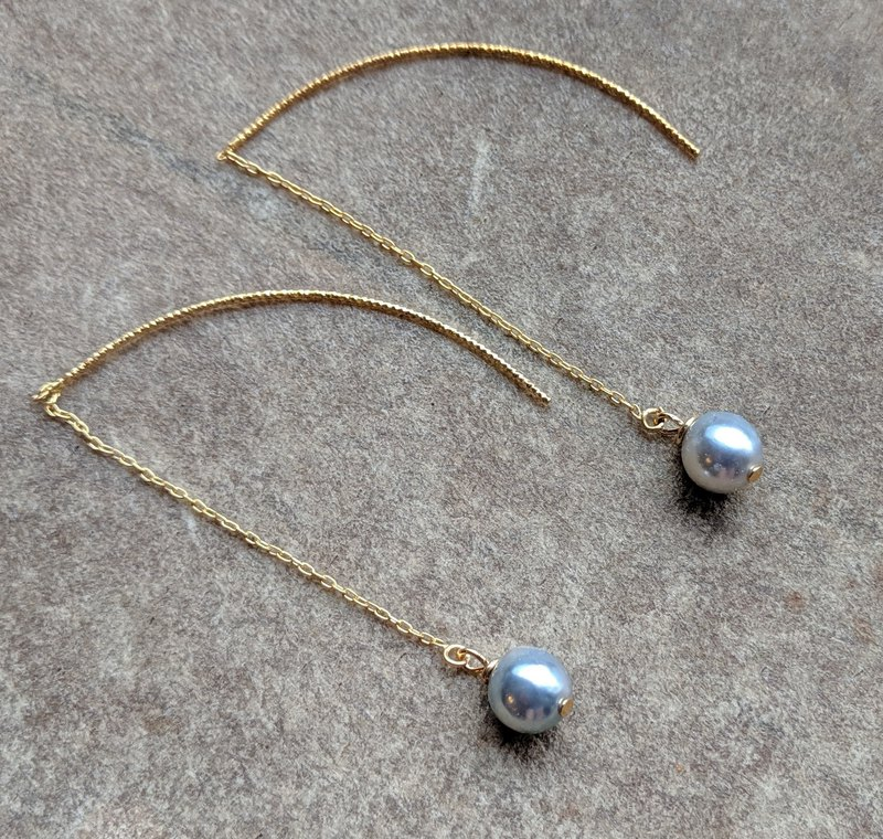Light Gray Akoya Pearl Gold-filled Earrings