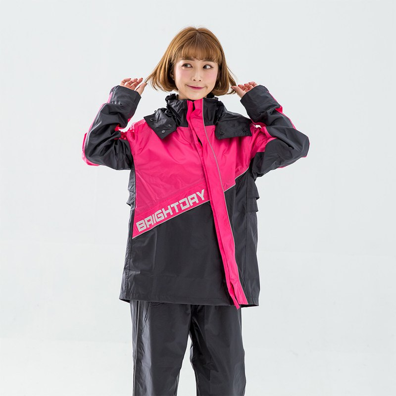 X Warrior diagonally open two-piece raincoat - peach
