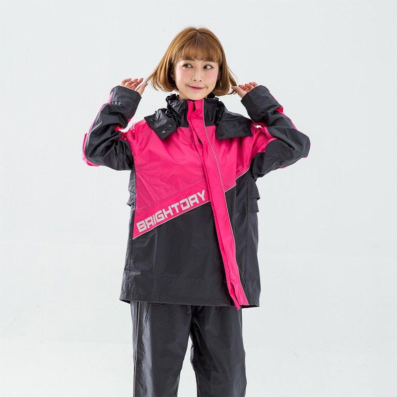 X武士斜開兩件式風雨衣-桃