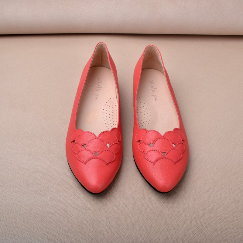 906 Coral Red Flower Heightened Pointed Toe Shoes