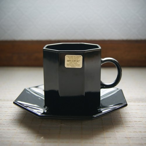 Early arcoroc coffee cup and saucers set - star anise black (cutlery / second-hand / old things / glass / simple)