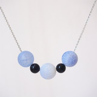 Christmas Gifts, Frosted Blue Agate Beads, Blue Sandstone, Rhodium Plated Copper Chain Necklace (40cm)