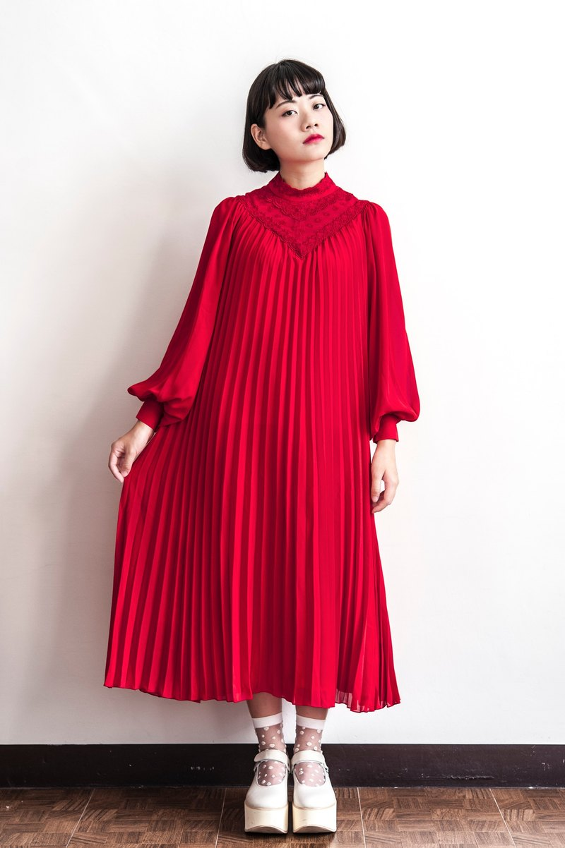 Vintage Lace Red Long Sleeve Antique Dress